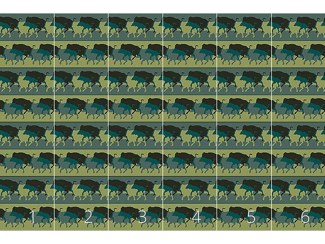 Designtapete Wildschweinherde In Grün