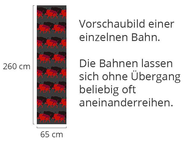 Designtapete Wildschweinherde In Rot