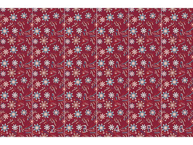 Designtapete Blumen Tanzen Rot