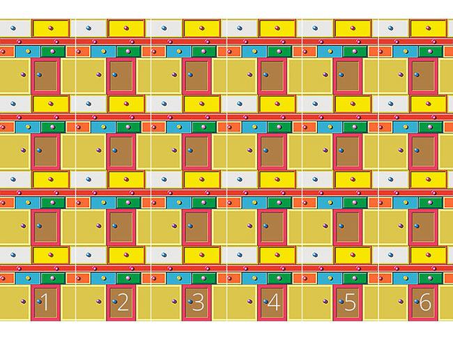 Designtapete Schubladendenken Multicolor