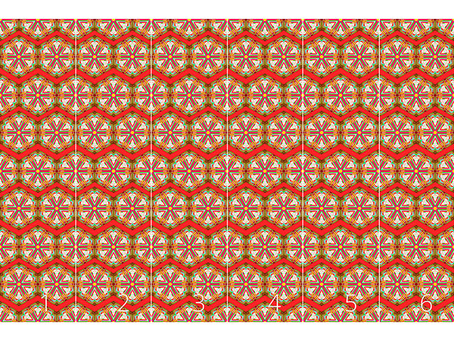 Designtapete Kaleidoskop Zickzack Rot