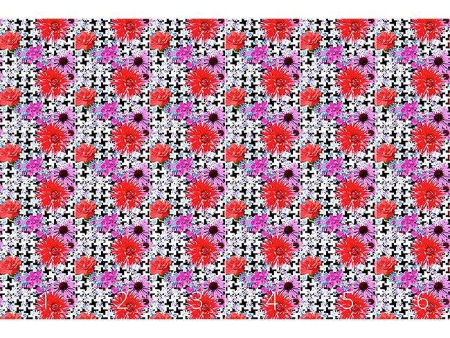 Designtapete Hahnentritt Floral