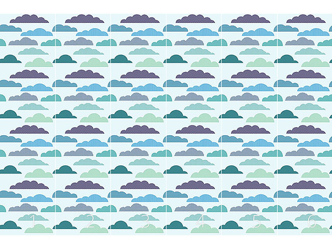 Designtapete Wolken Patchwork