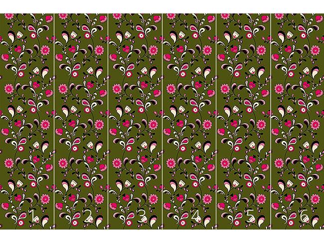 Designtapete Folk Blumen