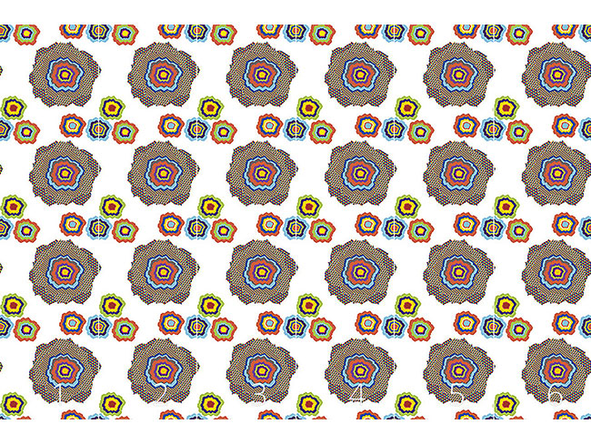 Designtapete Pixel Blumen Pop