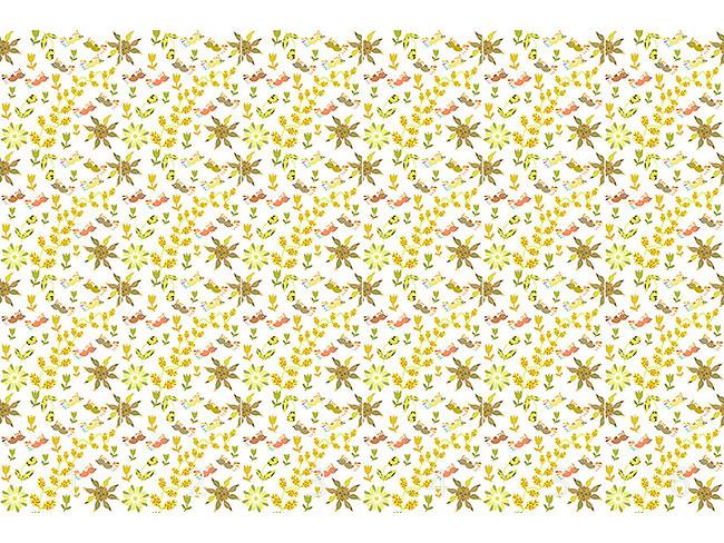 Designtapete Vögel Fliegen Übers Blumenbeet