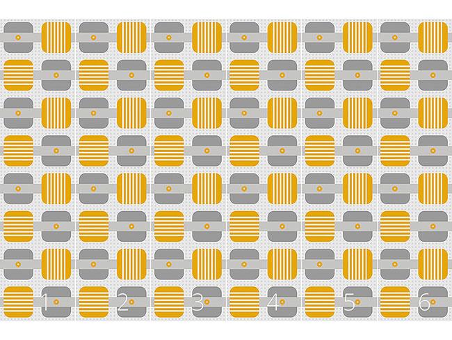 Designtapete Quadrate Streifen Punkte