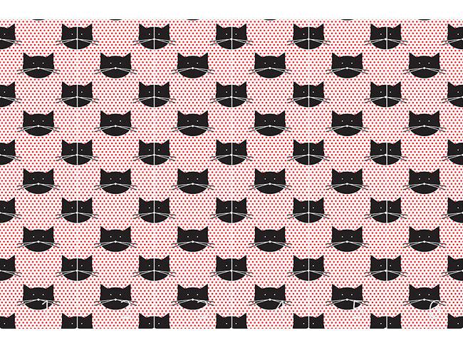 Designtapete Polka Katzen
