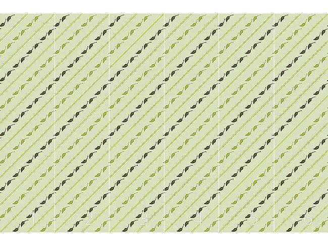Designtapete Blätter Und Streifen