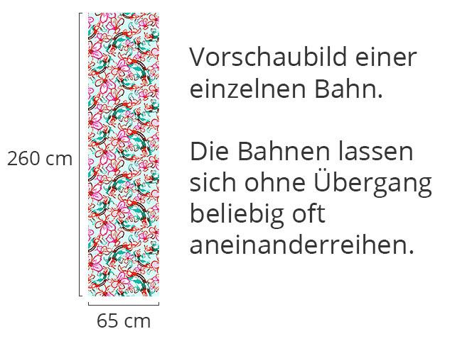 Designtapete Koi im Blumenmeer
