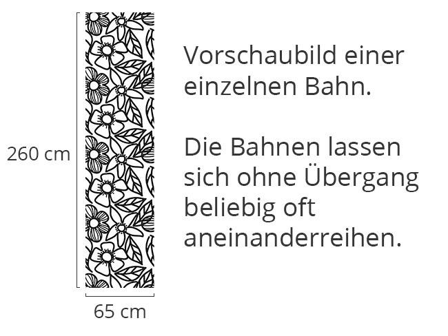 Designtapete Schwarz-Weiss Blumen Gekritzel