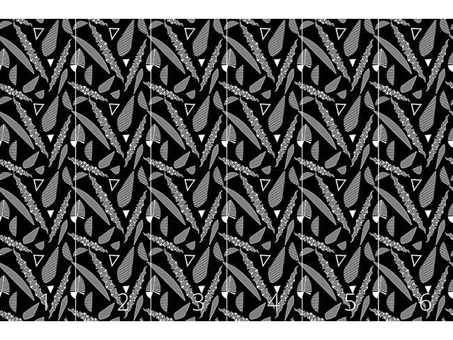 Designtapete Streifen Phantasie Blätter