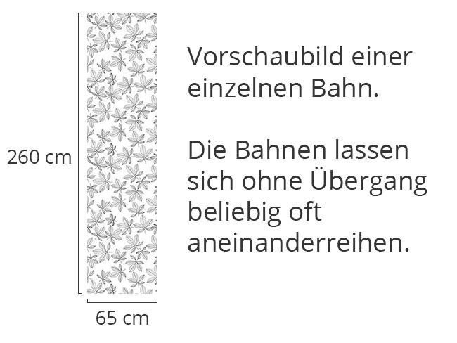 Designtapete Kastanienblätter Schwarz Weiss