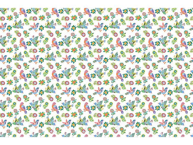 Designtapete Vögel Und Blumen