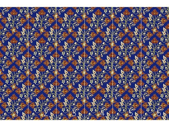 Designtapete Ethno Blätter Blau