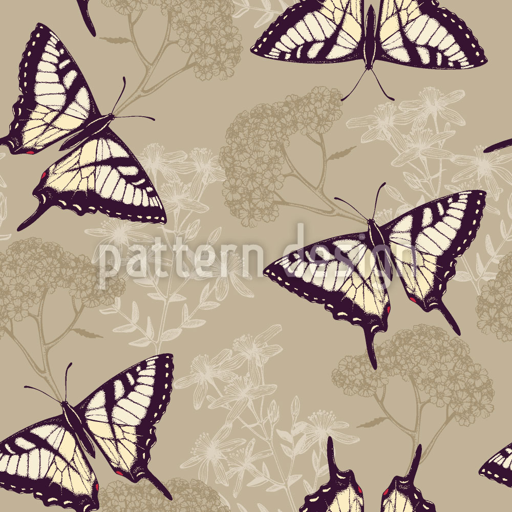Designtapete Kräuter und Schmetterlinge