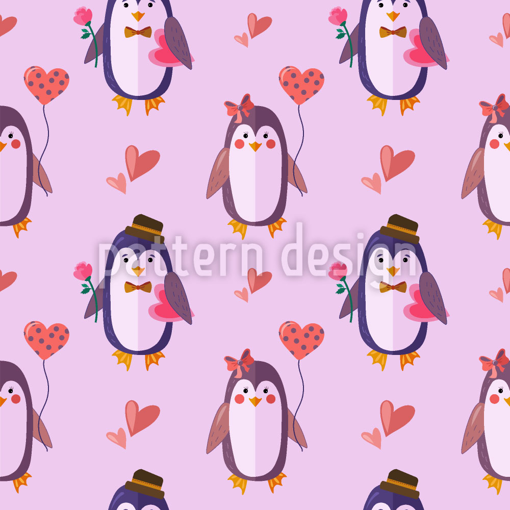 Designtapete Pinguin Liebe