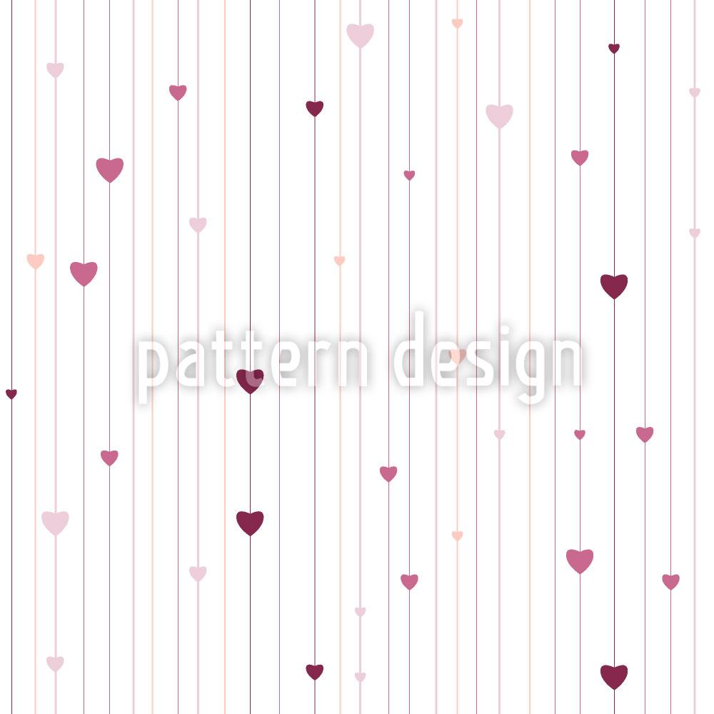 Designtapete Streifen und Herzen