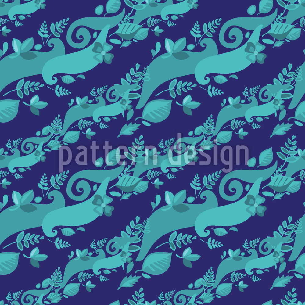 Designtapete Blätter Auf Wellen