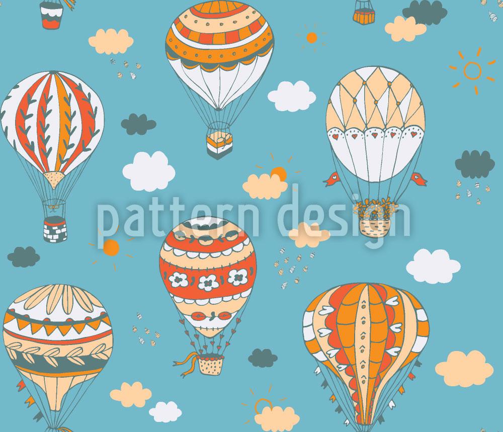 Designtapete Retro Balloonfahrt