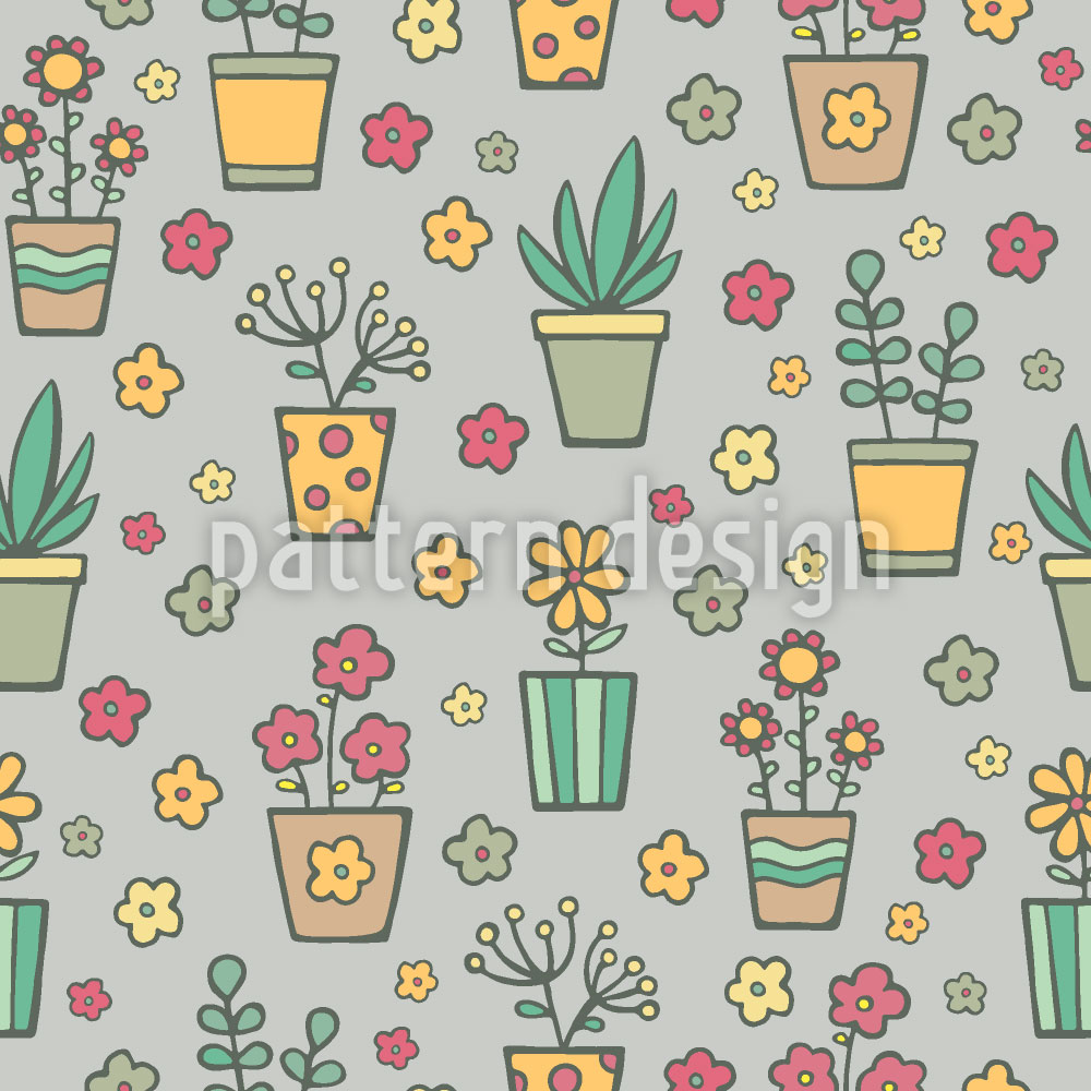 Designtapete Topfpflanzen und Blumen