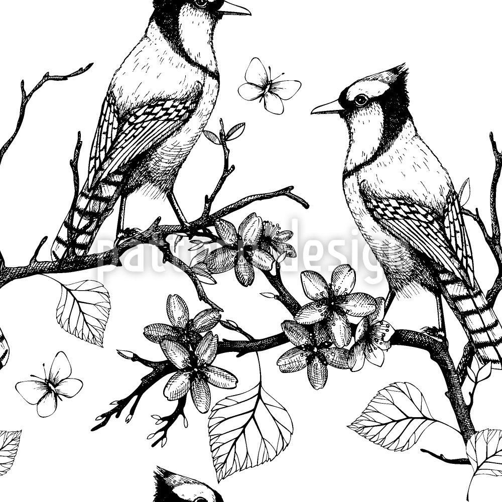 Designtapete Vögel auf Zweigen