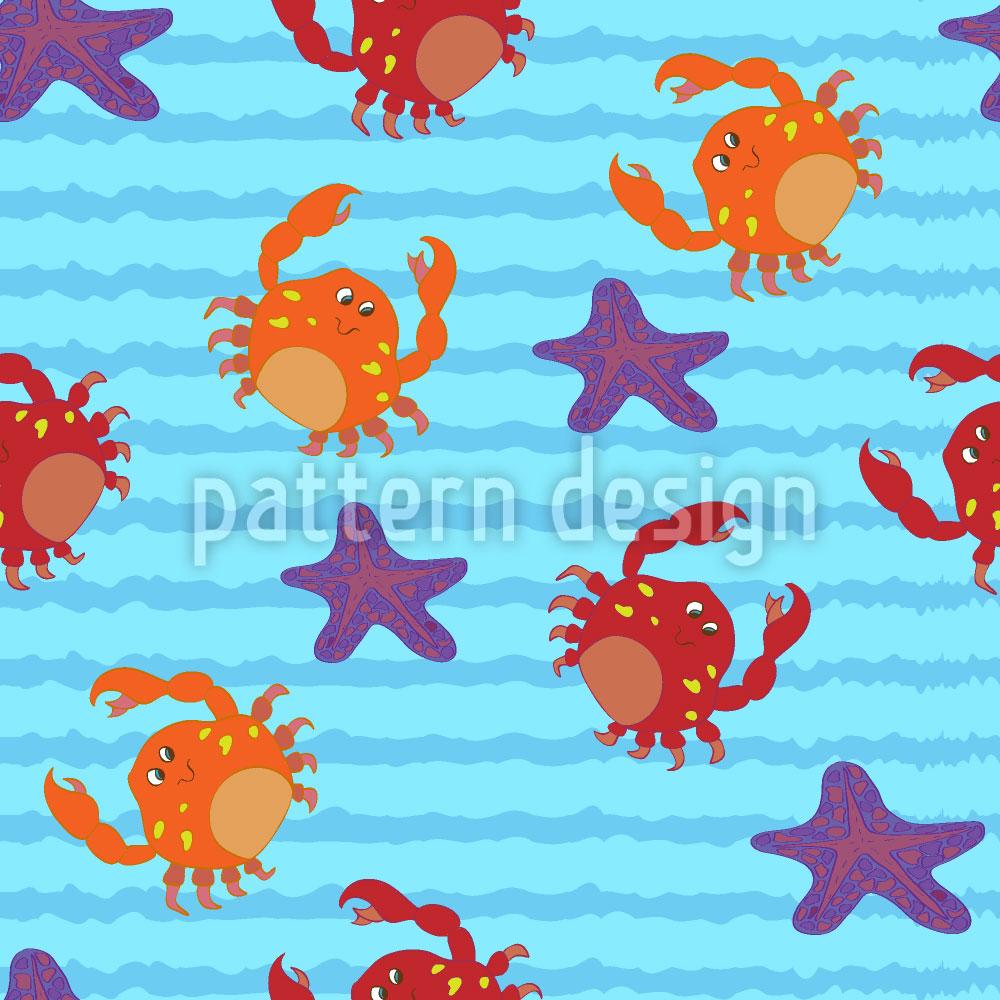 Designtapete Schwimmen mit Krabben