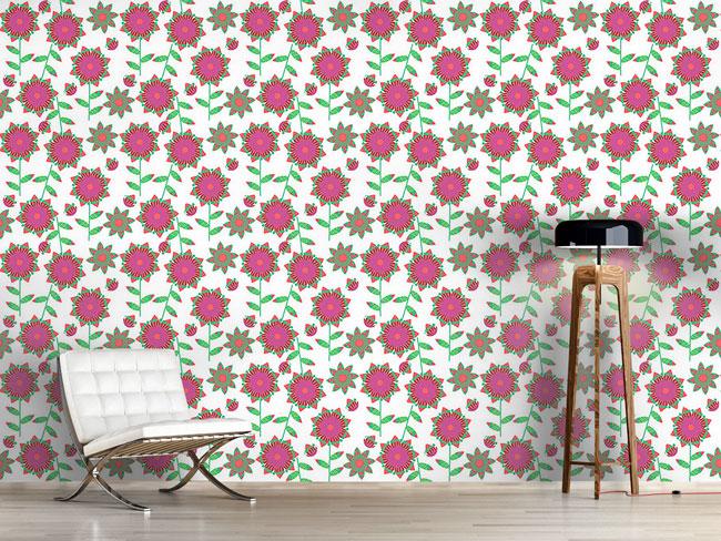 Designtapete Kleines Blumen Patchwork