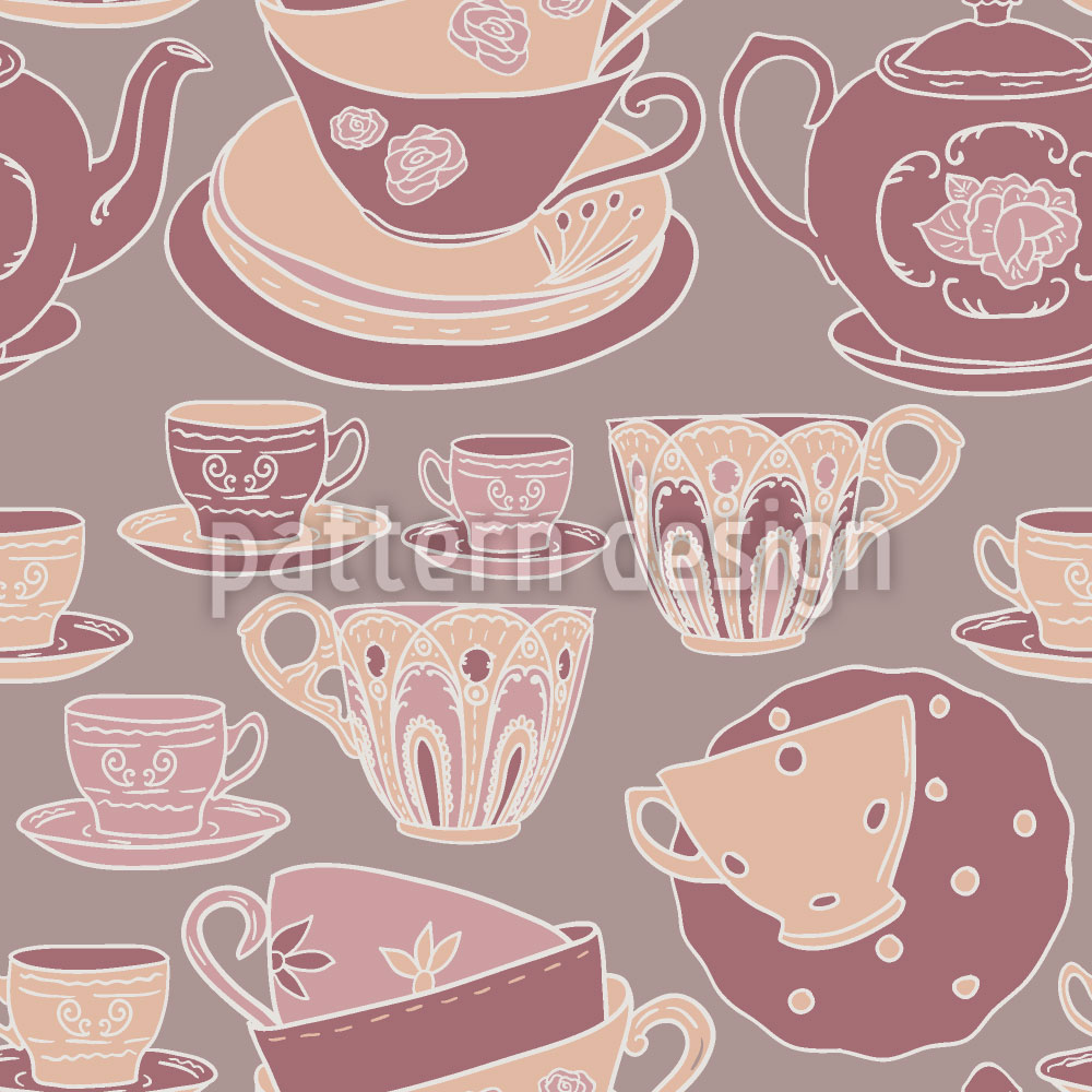 Designtapete Teetassen Romanze