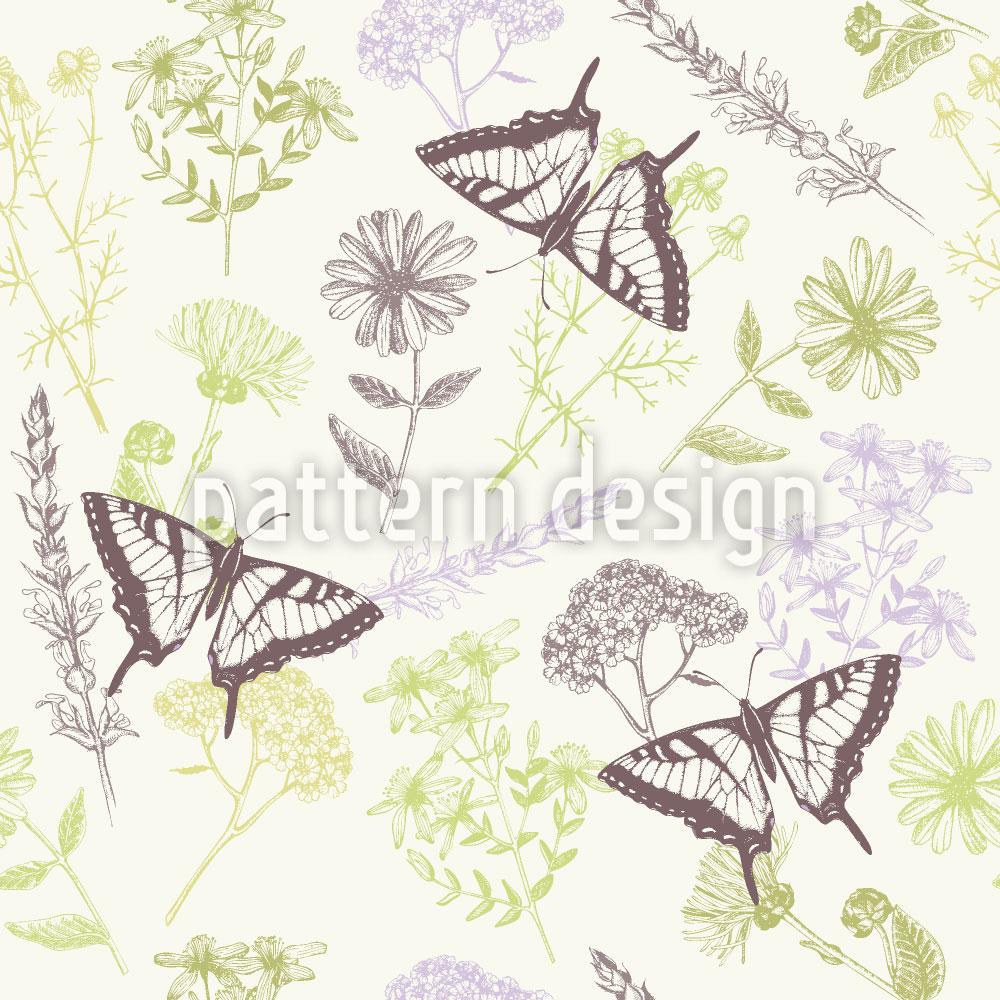 Designtapete Heilpflanzen und Schmetterlinge