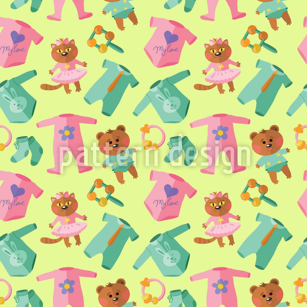 Designtapete Baby-Kleidung Und Spielzeug