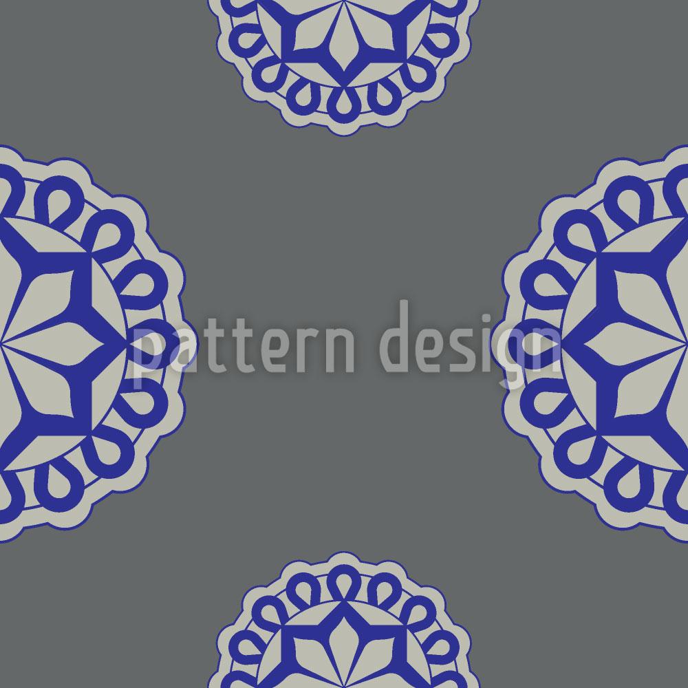 Designtapete Blumen Emblem