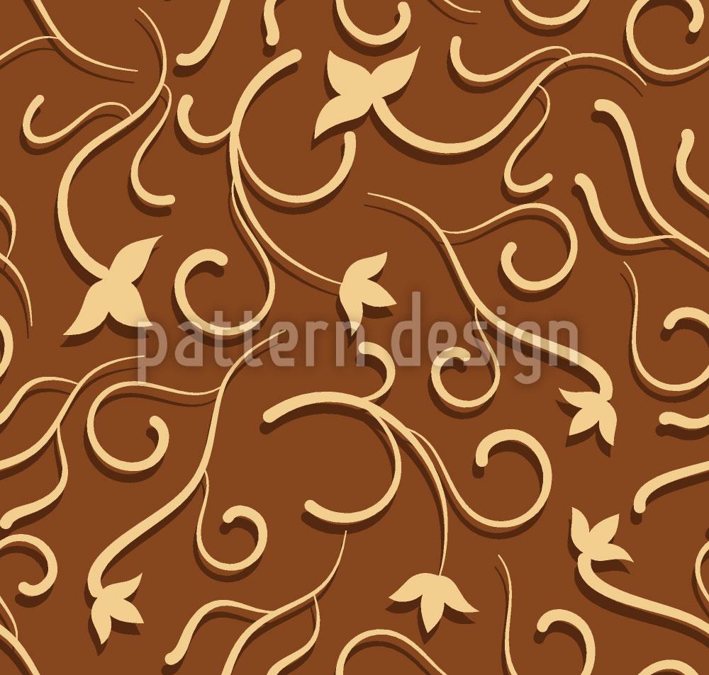 Designtapete Efeu in Schokolade