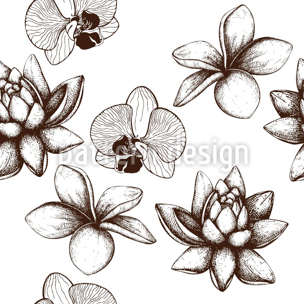 Designtapete Vintage Exotische Pflanzen