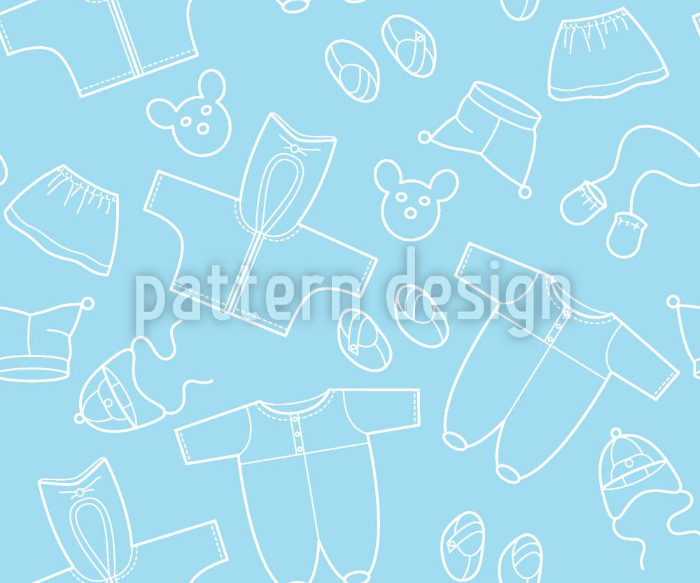 Designtapete Babysachen Blau