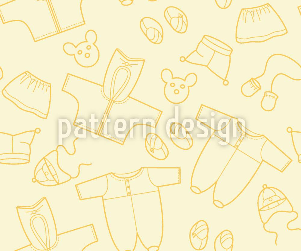 Designtapete Babysachen Gelb