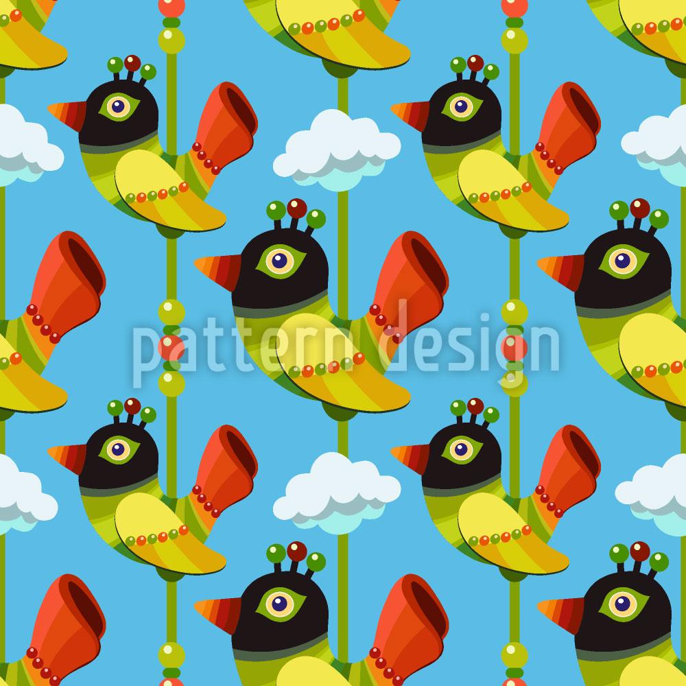 Designtapete Lustige Cartoon Vögel