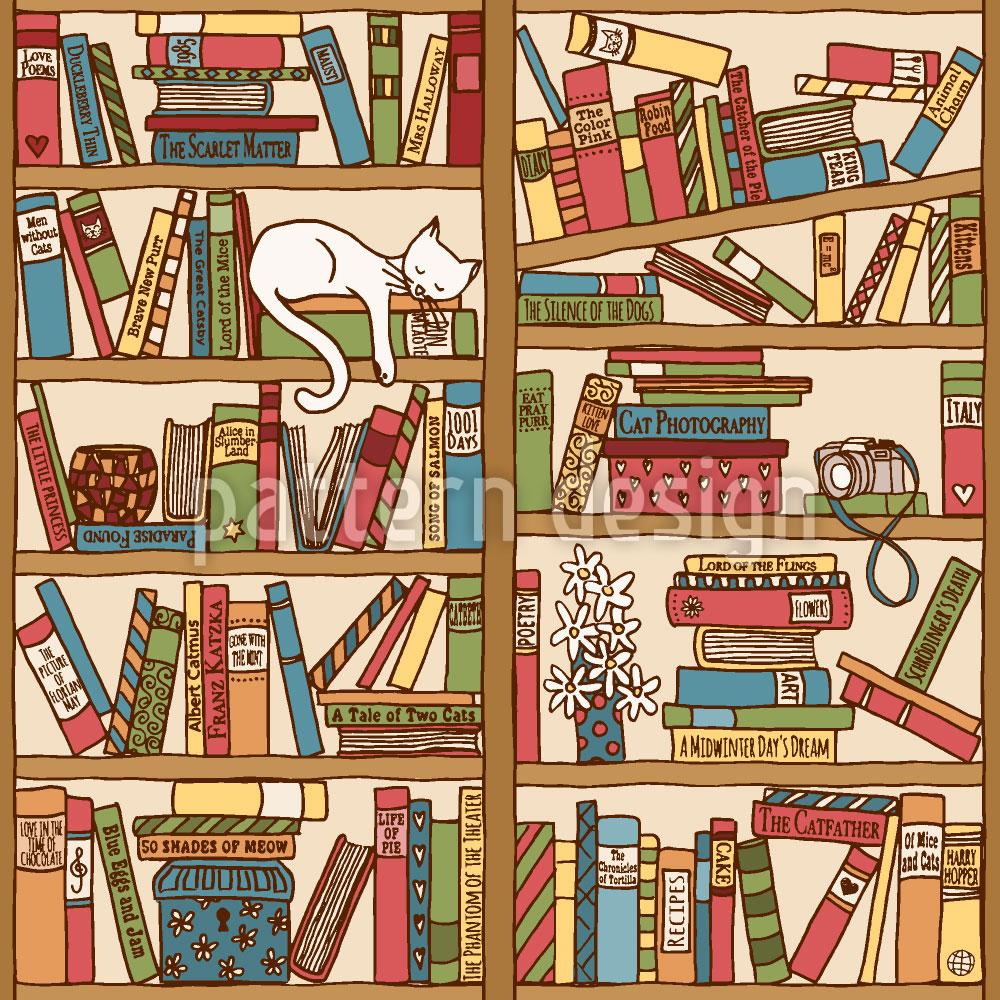Designtapete Nickerchen Zwischen Büchern