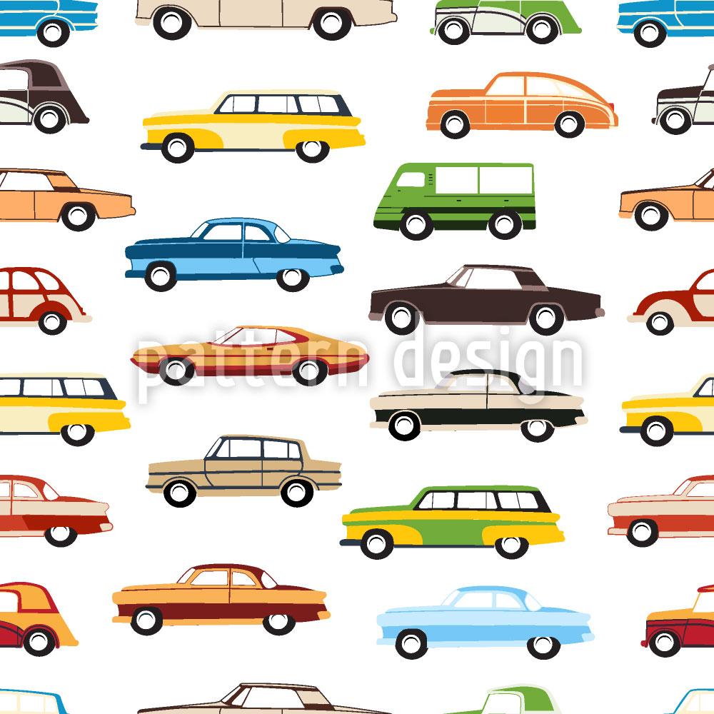 Designtapete Retro Autos