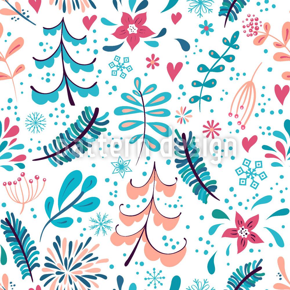 Designtapete Winter Blumen und Schneeflocken