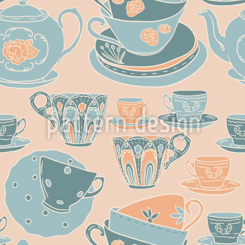 Designtapete Zeit für Tee