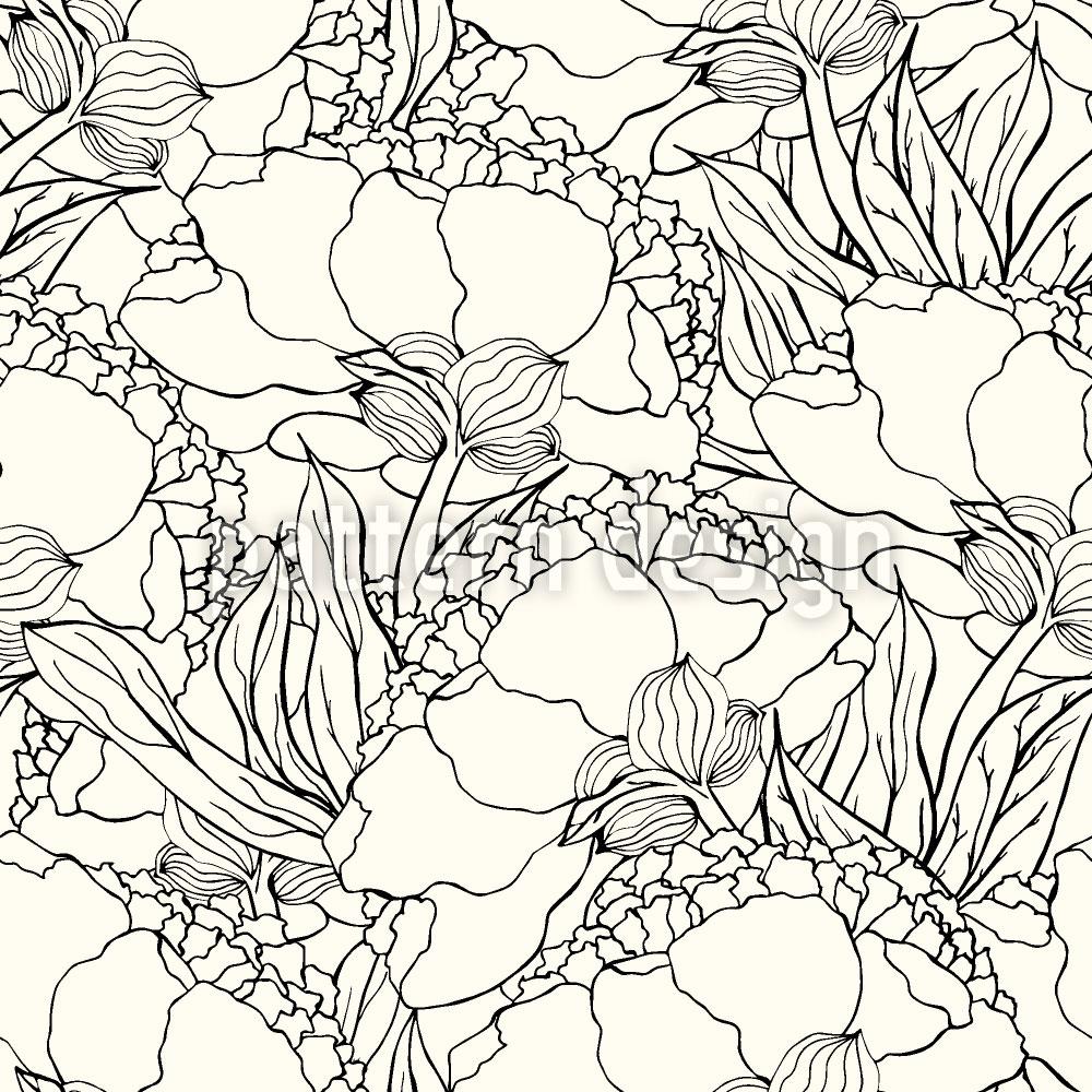 Designtapete Jugendstil Blumen