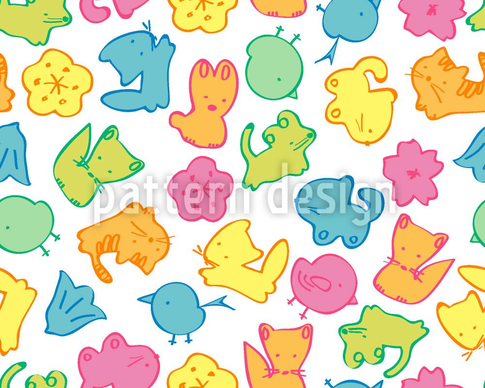 Designtapete Gummi Tierchen