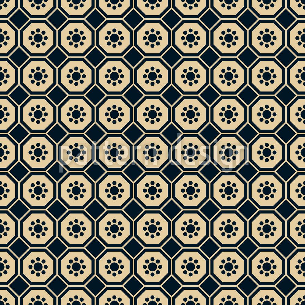 Designtapete Chinesische Blumen Hexagon