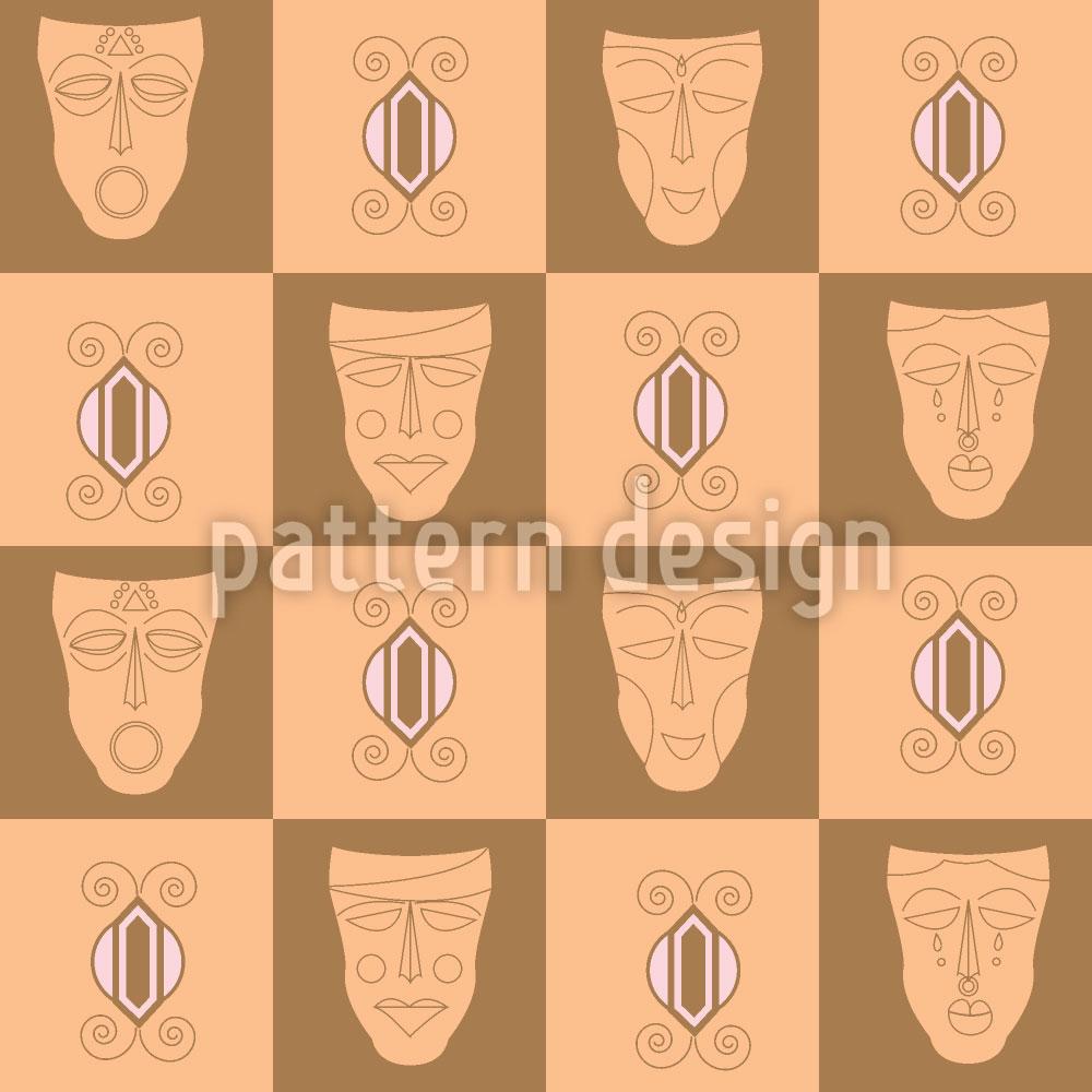 Designtapete Afrikanische Masken