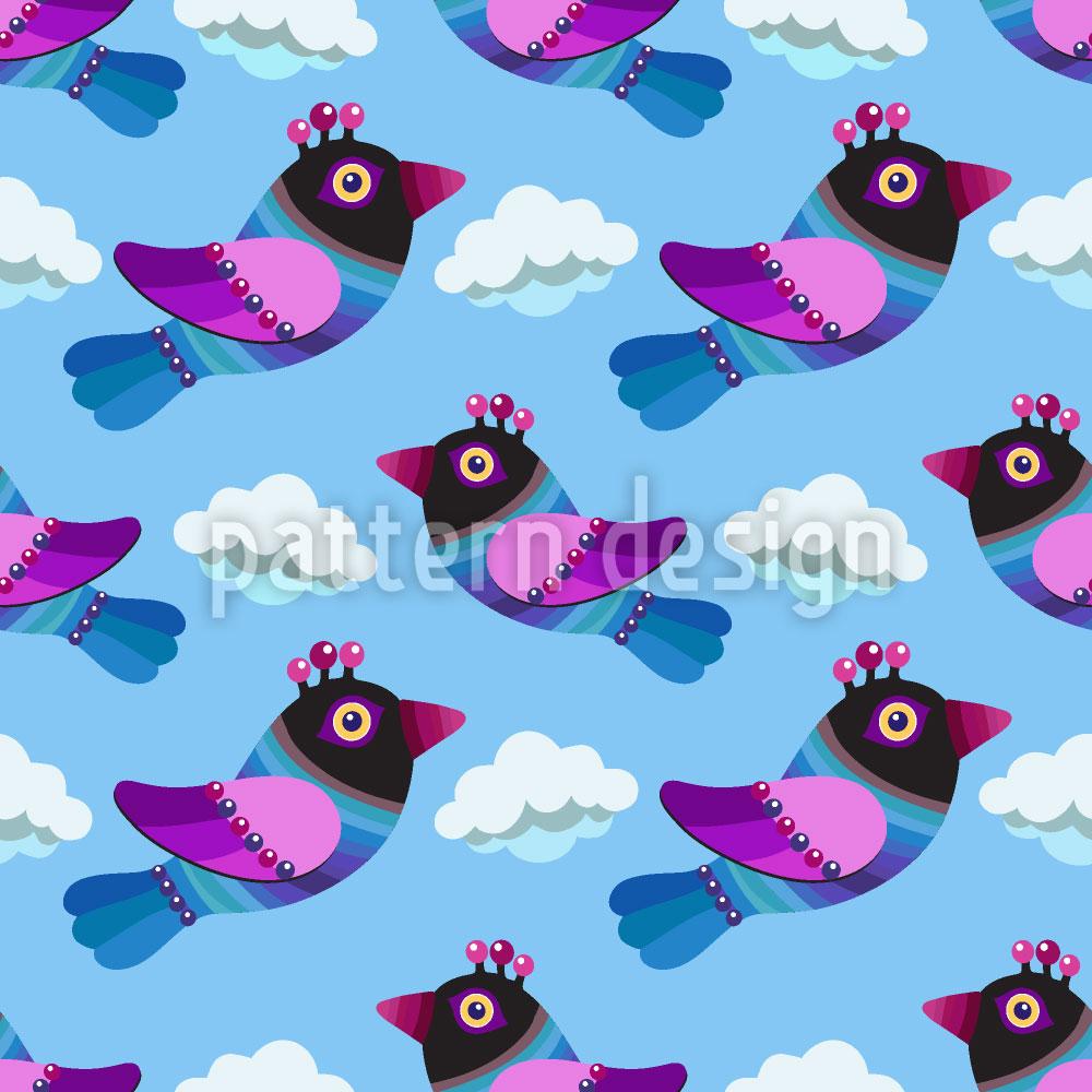 Designtapete Lustige Vögel In den Wolken