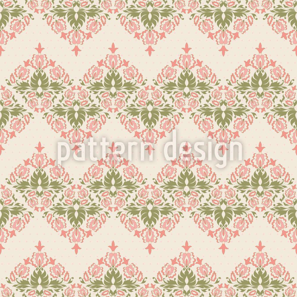 Designtapete Vintage Floral Damast