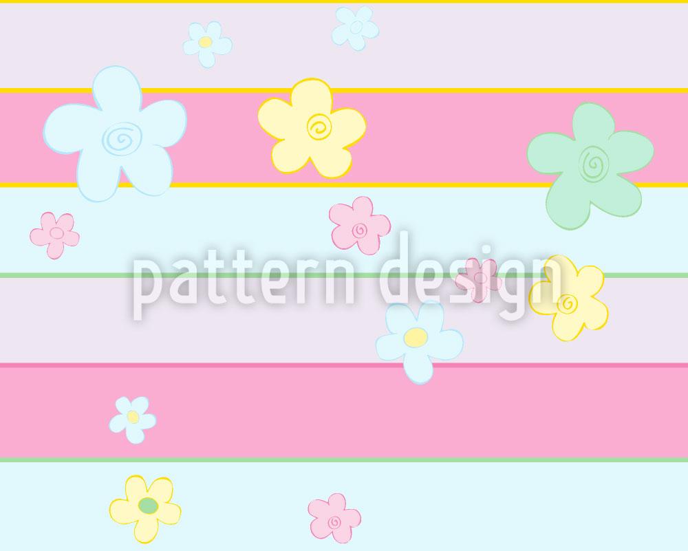 Designtapete Blumen Treffen Streifen