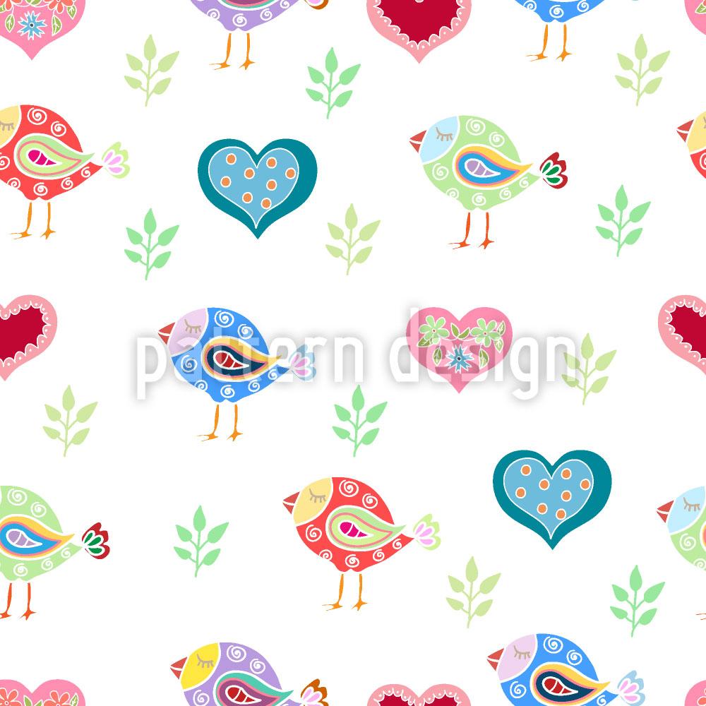 Designtapete Vögel und Herzen