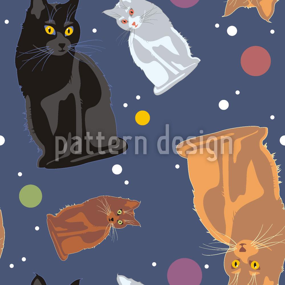 Designtapete Weltraum Katzen